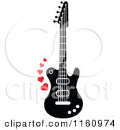 Cartoon Of A Black And White Electric Guitar With Red Hearts Royalty Free Vector Clipart
