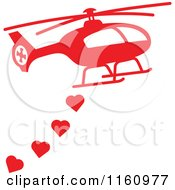 Cartoon Of A Red Helicopter With Valentine Hearts Royalty Free Vector Clipart
