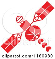 Cartoon Of A Red Space Satellite With Hearts Royalty Free Vector Clipart