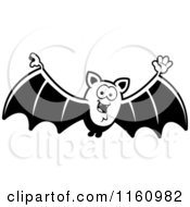 Cartoon Of A Black And White Waving Vampire Bat Royalty Free Vector Clipart