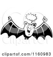 Cartoon Of A Black And White Talking Vampire Bat Royalty Free Vector Clipart