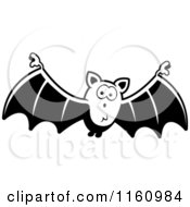 Cartoon Of A Black And White Surprised Vampire Bat Royalty Free Vector Clipart