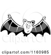 Cartoon Of A Black And White Happy Vampire Bat Royalty Free Vector Clipart