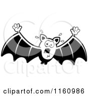 Cartoon Of A Black And White Scared Vampire Bat Royalty Free Vector Clipart