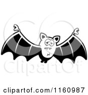Cartoon Of A Black And White Depressed Vampire Bat Royalty Free Vector Clipart