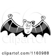 Cartoon Of A Black And White Mad Vampire Bat Royalty Free Vector Clipart