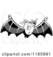 Cartoon Of A Black And White Drunk Vampire Bat Royalty Free Vector Clipart