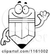 Cartoon Of A Black And White Happy Pencil Mascot Waving Royalty Free Vector Clipart