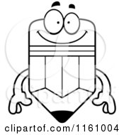 Cartoon Of A Black And White Happy Pencil Mascot Royalty Free Vector Clipart by Cory Thoman