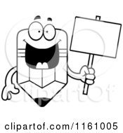 Cartoon Of A Black And White Happy Pencil Mascot Holding A Sign Royalty Free Vector Clipart