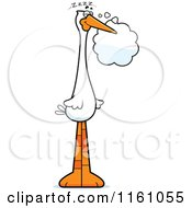 Cartoon Of A Dreaming Stork Mascot Royalty Free Vector Clipart by Cory Thoman