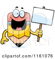 Cartoon Of A Happy Pencil Mascot Holding A Sign Royalty Free Vector Clipart