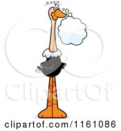 Cartoon Of A Dreaming Ostrich Mascot Royalty Free Vector Clipart by Cory Thoman