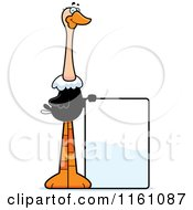 Cartoon Of A Happy Ostrich Mascot With A Sign Royalty Free Vector Clipart by Cory Thoman