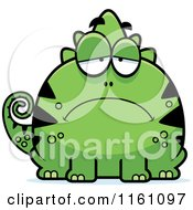 Cartoon Of A Depressed Chameleon Lizard Mascot Royalty Free Vector Clipart by Cory Thoman