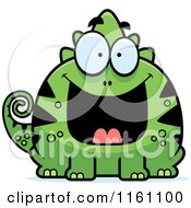 Cartoon Of A Grinning Chameleon Lizard Mascot Royalty Free Vector Clipart by Cory Thoman