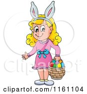 Cartoon Of A Blond Girl Wearing Bunny Ears And Carrying A Basket Full Of Easter Eggs Royalty Free Vector Clipart