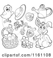 Cartoon Of An Outlined Easter Chick Bunny And Items Royalty Free Vector Clipart by visekart