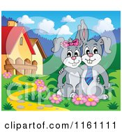 Cartoon Of A Happy Bunny Rabbit Couple By A Path Royalty Free Vector Clipart