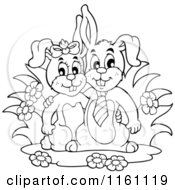 Cartoon Of An Outlined Happy Bunny Rabbit Couple Royalty Free Vector Clipart