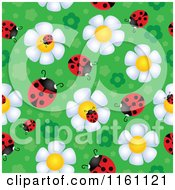 Cartoon Of Seamless Ladybug And Daisy Flower Pattern 2 Royalty Free Vector Clipart by visekart