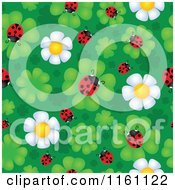 Cartoon Of Seamless Ladybug And Daisy Flower Pattern Royalty Free Vector Clipart