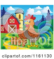 Cartoon Of A Presenting Rooster In A Barn Yard Royalty Free Vector Clipart by visekart