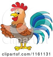 Cartoon Of A Presenting Rooster Royalty Free Vector Clipart
