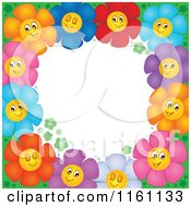 Cartoon Of Colorful Daisy Flower Border Around White Copyspace Royalty Free Vector Clipart