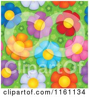 Cartoon Of Seamless Colorful Daisy Flower Pattern Royalty Free Vector Clipart