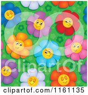 Cartoon Of Seamless Colorful Daisy Flower Faces Pattern Royalty Free Vector Clipart by visekart