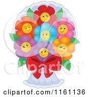 Cartoon Of Colorful Daisy Flowers In A Bouquet Royalty Free Vector Clipart