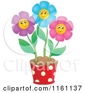 Cartoon Of Colorful Daisy Flowers In A Pot Royalty Free Vector Clipart