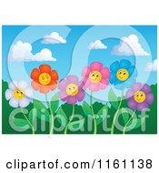 Cartoon Of Colorful Daisy Flower Faces On Stems Against A Sky Royalty Free Vector Clipart