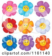 Cartoon Of Colorful Daisy Flower Faces Royalty Free Vector Clipart
