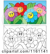 Cartoon Of Outlined And Colorful Daisy Flowers Royalty Free Vector Clipart