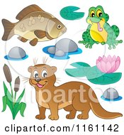 Cartoon Of A Happy Otter Frog And Fish Royalty Free Vector Clipart by visekart
