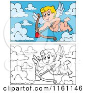 Cartoon Of Outlined And Colored Cupids With Arrows Royalty Free Vector Clipart by visekart
