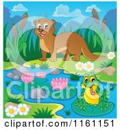 Cartoon Of A Happy Otter Watching A Frog On A River Royalty Free Vector Clipart by visekart