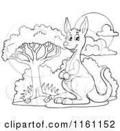 Cartoon Of An Outlined Kangaroo By A Tree Royalty Free Vector Clipart by visekart