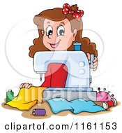 Cartoon Of A Happy Girl Using A Sewing Machine Royalty Free Vector Clipart