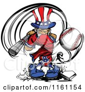 Cartoon Of An Uncle Sam Baseball Player Swinging Royalty Free Vector Clipart