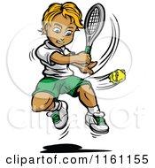Blond Tennis Boy Swinging At A Ball