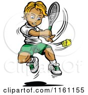 Cartoon Of A Blond Tennis Boy Swinging At A Ball Royalty Free Vector Clipart