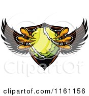 Cartoon Of Eagle Talons Grabbing A Tennis Ball And A Winged Shield Royalty Free Vector Clipart