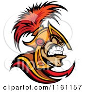 Cartoon Of An Angry Spartan Warrior In Profile Royalty Free Vector Clipart