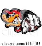 Aggressive Duck Wearing A Hat And Holding Out A Baseball