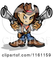 Cartoon Of A Tough Little Cowboy Holding Two Pistols Royalty Free Vector Clipart