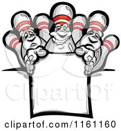 Cartoon Of Bowling Pins Over A Sign Royalty Free Vector Clipart