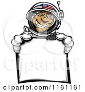 Cartoon Of An American Astronaut Man Holding A Sign Royalty Free Vector Clipart by Chromaco